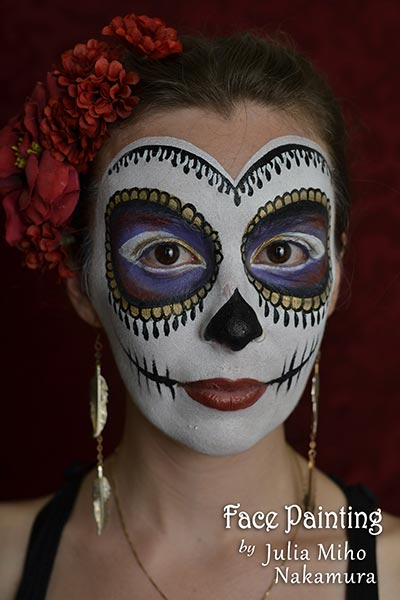 halloween sugar skull dia de los muertos face painting san francisco bay area face painters - Halloween Day Of The Dead Face Paint