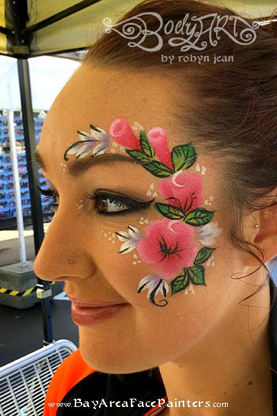 adult face painting one stroke roses san francisco bay area face painters